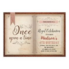 Book themed  birthday party invitation Book Birthday Parties, Birthday Party Invitations, Birthday Cards, Princess Invitations, Custom Invitations, Office Christmas Party, Childrens Party, Book Crafts, Bridal Shower
