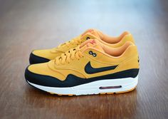 NIKE AIR MAX 1 PREMIUM CANYON GOLD SUEDE LEATHER BLACK