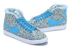 Damen Nike Blazer Mid Pattern Fur Floral Grau Cyan Blau Sneaker NK1658