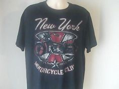 New York Motorcycle Club Gildan Mens XL T Shirt 100% Cotton Black White Red #Gildan #GraphicTee