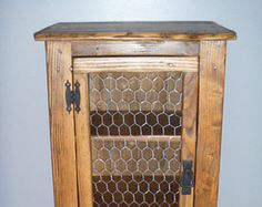 Amazing Rustic Pallet Cabinet With Chicken Wire Door, Rustic Nightstand, End Table, Jelly  Cabinet