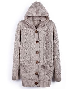 Chunky Twist Knit Hooded Cardigan - perfect for fall and winter!