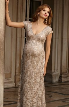 Carmen Maternity Gown Gold Rush - Maternity Wedding Dresses, Evening Wear and Party Clothes by Tiffany Rose.