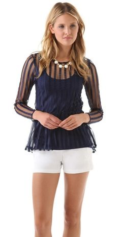 Only Hearts Satin Striped Peplum Top - 80$