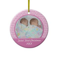Shop Pink Twins First Christma Ornament created by Scrappintwins.