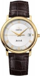 Omega DeVille Prestige Silver Dial 18kt Yellow Gold Brown Leather Mens Watch 4610.32.02