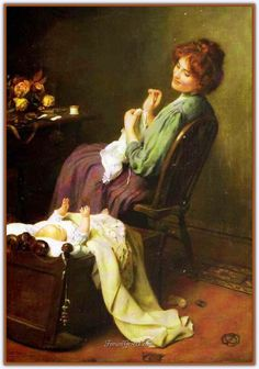 Mother's Darling Artwork By Arthur John Elsley Oil Painting & Art Prints On Canvas For Sale Art And Illustration, Illustrations, Paintings I Love, Beautiful Paintings, Old Paintings, Art Ancien, Mama Baby, Sewing Art, Victorian Art