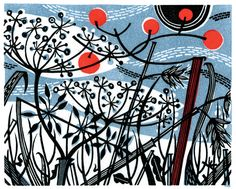 """Winter Spey"" wood engraving by Angie Lewin. http://www.angielewin.co.uk/ Tags: Linocut, Cut, Print, Linoleum, Lino, Carving, Block, Woodcut, Helen Elstone,  Lucienne Day, Flowers, Seeds, Pattern, Leaves."