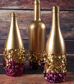 Golden Touch Sequin Bottles. Need: Aleene's® Always Ready Clear Gel Tacky Glue, Gold Sequins, Glass bottles, Gold spray paint, Paintbrush. Opt: other sequin colors. Wash, peel off labels on bottles. Spray paint bottles gold, dry for one hour or until completely dry. Work in sections, apply Clear Gel Tacky Glue to bottle. Immediately sprinkle gold sequins over glue. Repeat until covered. Fill in empty areas w/ more sequins if needed. Add 2nd color of sequins if desired. Let bottle dry for 24…