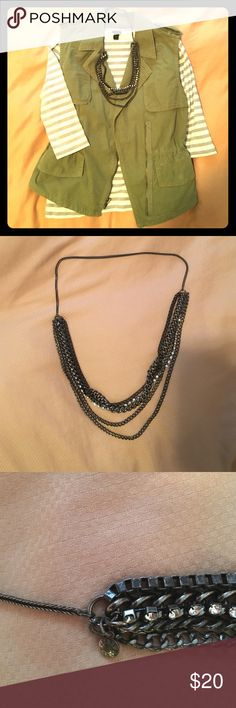 J. Crew Multi strand jeweled necklace Chic with any ensemble! A multi strand necklace that is tough and cool at the same time. No flaws or missing pieces. J. Crew Jewelry Necklaces