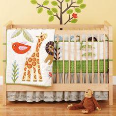 Baby Crib Bedding: Baby Crib Jungle Animal Safari Bedding - Grey w/Brown Dot Gathered Skirt - Kids Childrens Bedding Boutique