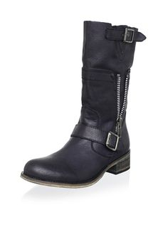 AwesomeNice STEVEN by Steve Madden Women's Dante Buckle Boot, Black, 8.5 M US