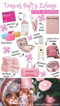 Travel gift ideas for women. These gifts are both practical for when you're adventuring and cute. Stay organized and light with these travel essentials. accessories diy Christmas Gifts for Travel Enthusiasts (Santa Approved) Travel Essentials For Women, Road Trip Essentials, Packing Tips For Travel, Packing Lists, Travel Necessities, Work Bag Essentials, Travel Makeup Essentials, Airplane Essentials, Travel Size Toiletries