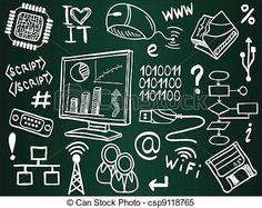 información, tecnología, internet, Bosquejo, iconos, escuela, tabla - csp9118765