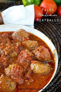 Paleo Italian Meatballs are a mixture of ground beef and ground turkey with Italian seasonings, all smothered in marinara sauce. Made grain free, gluten free, dairy free and sugar free! This is one great looking Paleo Product! Dairy Free Recipes, Whole Food Recipes, Healthy Recipes, Gluten Free, Salad Recipes, Paleo Snack, Paleo Dinner, Paleo Pizza, Dinner Recipes