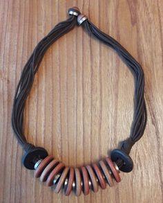 Aarikka Finland Vintage Chunky Wooden Necklace Brown Black Silver Toned Metal  #Aarikka
