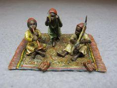 "Vienna bronze Orientalist boys group sculpture, original painting. 2 1/4"" H x 3"" W x 2 1/2"" D."