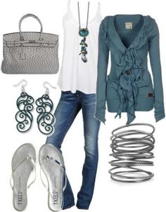 Cute. Love the drapey white shirt and the more fitted fancy detail sweater, the jewelry would be brought out sometimes...