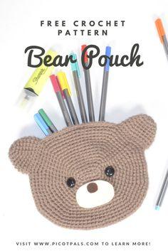 Free crochet pattern & photo tutorial for a bear shaped pencil case from picotpals.com crochet bag - crochet bear - crochet pouch - kawaii - back to school diy
