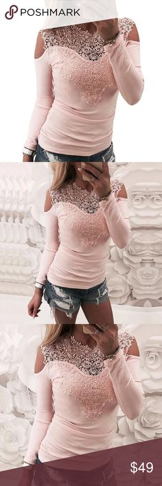 ❤️❤️ l Embroidery Cold Shoulder Top Hot Light Pink Embroidery Detailed Cold Shoulder l top l  Stylish l Preppy l Cute l Great top for l parties l shopping l hanging with friends l dinner dates Delilah Wear Tops Tees - Long Sleeve