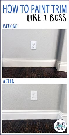 painting trim tips ; painting trim white before and after ; painting trim with carpet ; painting trim and doors ; painting trim white tips ; Home Renovation, Home Remodeling, Home Improvement Projects, Home Projects, Home Improvements, Casa Disney, Painting Baseboards, Painting Molding, Painting Wood Trim