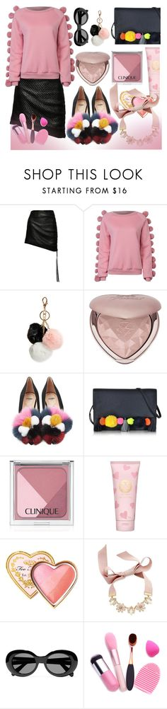 """Pom Poms"" by zouus ❤ liked on Polyvore featuring Magda Butrym, WithChic, GUESS, Too Faced Cosmetics, Fendi, Rebecca Minkoff, Clinique, Tory Burch, INC International Concepts and Acne Studios"