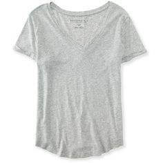 Aeropostale Seriously Soft Perfect V-Neck Tee (£5.25) ❤ liked on Polyvore featuring tops, t-shirts, shirts, blusas, light heather grey, vneck t shirts, aeropostale t shirts, v neck tee, relaxed fit t shirt and t shirt