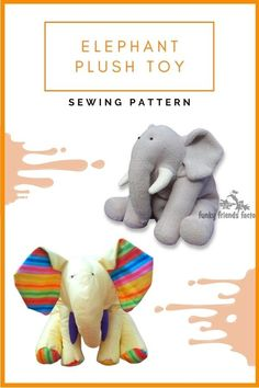 Elephant Plush Toy sewing pattern. Ellie the elephant is made mainly from one color, and he is described as one of the simplest Funky Friends designs. That way he is quick and easy to make and is therefore perfect for the beginner sewer to make. Ellie can be made from most fabrics, non-stretch fabrics.