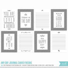 FREE Printables » Any Day Journal Cards | MissTiina.com {Blog}