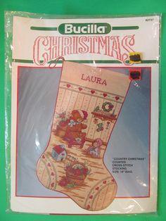 "Bucilla Christmas Country Christmas Counted Cross Stitch Stocking 18"" Diag. | Crafts, Needlecrafts & Yarn, Embroidery & Cross Stitch | eBay!"