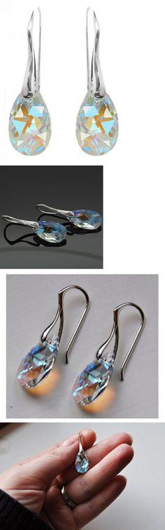 Earrings 50647: Valentine Sterling Silver Swarovski Crystal Blue Aurora Borealis Drop Earrings -> BUY IT NOW ONLY: $38.4 on eBay!