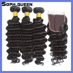 Soph queen Hair Brazilian Deep Wave 3 Bundles With Closure Non-Remy Deep Wave Human Hair Weave Cabelo Pelo