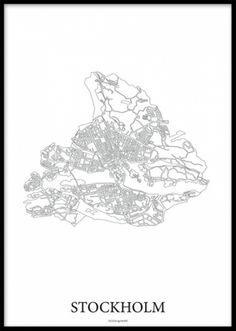Svartvit poster med Karta över Stockholm