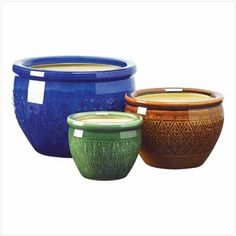 $69.95 - Bring a burst of color to your garden! Embossed earthenware flower pots are sumptuous in shades of azure, topaz and peridot.