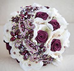 Brooch bouquet. Ivory and burgundy wedding brooch bouquet, Jeweled Bouquet. Ready to ship. $299.00, via Etsy.