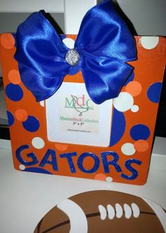 FLORIDA GATORS Picture Frame UF Bow  by Mama by MamaDuckCreation, $13.49