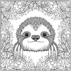 free printable sloth colouring in page Tree Coloring Page, Free Adult Coloring Pages, Cute Coloring Pages, Mandala Coloring Pages, Animal Coloring Pages, Free Printable Coloring Pages, Free Coloring, Coloring Books, Sloth Drawing