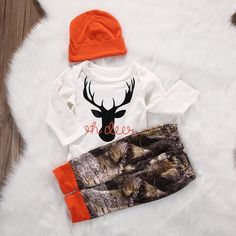 """This handmade outfit is beyond adorable for a baby boy on the way, or newly arrived. Pants and beanie hat are made out of a super soft stretchy jersey knit. Blaze Orange Words """" Oh Deer Baby Boys, Baby Boy Gifts, Baby Boy Camo, Carters Baby, Toddler Boys, Baby Outfits Newborn, Baby Boy Outfits, Camo Baby Stuff, Baby Boy Romper"""