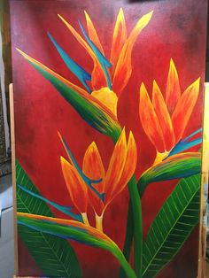 Andrew Ansaldi Painted Birds of Paradise from flowers in his garden. Base on a earlier lesson on our Academy lesson site. How wonderful is this. Watercolor Flowers, Watercolor Paintings, Birds Of Paradise Flower, Plant Painting, Tropical Art, Acrylic Art, Flower Art, Art Drawings, Canvas Art