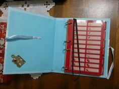 Livro de receitas xdrez azul com interior poá