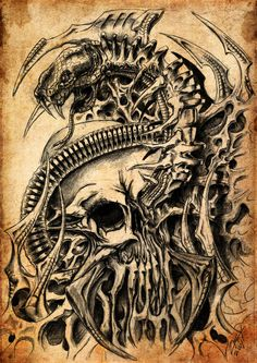Skull and Snake, biomech by ZmeyMH.deviantart.com on @deviantART