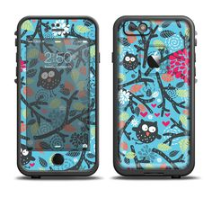 The Blue and Black Branches with Abstract Big Eyed Owls Apple iPhone 6/6s Plus LifeProof Fre Case Skin Set from DesignSkinz
