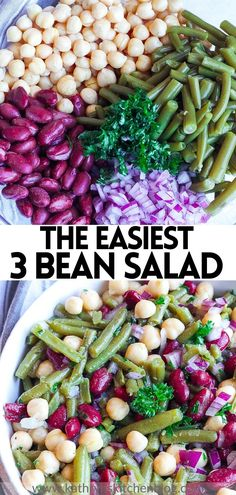 This Classic Three Bean Salad Recipe makes a perfect side dish for any meal! Made with easy ingredients and takes 10 minutes to make! Loaded with plenty of flavor and freshness that everyone will enjoy! #threebeansalad #salad #sidedish #salad #healthy #healthyrecipes #easyrecipes 3 Bean Salad, Three Bean Salad, Bean Salad Recipes, Salad Recipes For Dinner, Potluck Recipes, Healthy Salad Recipes, Side Dish Recipes, Summer Recipes, Easy Recipes