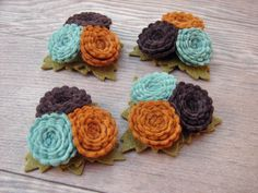 Wool Felt Flowers - Scallop Button Flower Trios - Soft Autumn Hues Collection - Set of 4. $8.00, via Etsy.