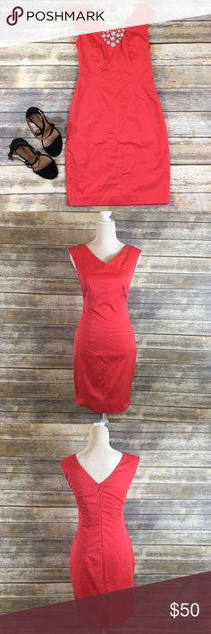 Club Monaco 'Andie' Dress Gorgeous coral color! Perfect for any occasion Bust: 16 inches (32 all around)  Shoulder to bottom: 36.5 inches  Strap width: 3.5 inches Club Monaco Dresses