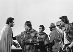 Luke, Leia, and Han bid farewell and good luck to Lando, filmed against bluescreen.