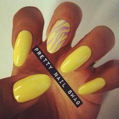 prettynailswag:  My lazy Friday mani…CG - Lemon Fizz, Orly - Lollipop for the zebra stripes (Taken with instagram)