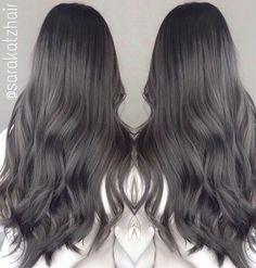 Dark Silver Hair, Dark Grey Hair Color, Ash Grey Hair, Ashy Hair, Hair Color And Cut, White Hair, Balayage Hair, Ombre Hair, Charcoal Hair