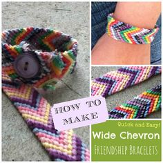 Embroidery Bracelets Ideas How To Make Wide Chevron Friendship Bracelets. The perfect summer distraction. - DIY How to make quick and easy wide chevron friendship bracelets Chevron Bracelet, Chevron Friendship Bracelets, Yarn Bracelets, Embroidery Bracelets, Silver Bracelets, Diy Arts And Crafts, Fun Crafts, Camping Crafts, Embroidery Techniques