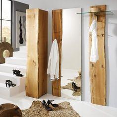 Design Garderobenset Eiche massiv Garderobe Flurmöbel Spiegel Kleiderschrank